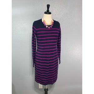 CYNTHIA ROWLEY | Navy Pink Striped Sweater Dress M